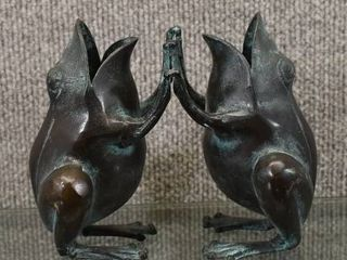 Vintage Pair of Brass Happy Frogs Playing   6  Tall