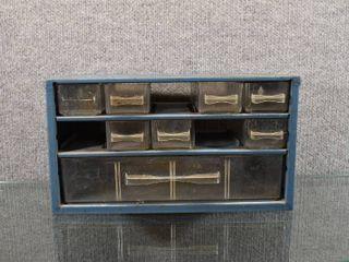 Vintage Metal Storage Box with Plastic Drawers   6  x 12