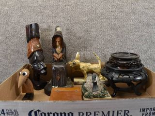 lot of 9 Vintage Wood Decor Items   Carvings  Desk  Dog  Duck   Figurines   One marked on bottom  Wood Carving from Haiti Feb 5  1985