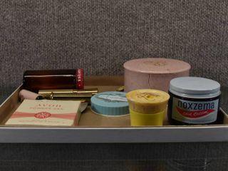 lot of 11 Vintage ladies Vintage Personal Care Products   Avon  Noxzema  Topaz  Ponds  Shari   lipsticks