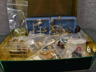 lot 23 Vintage Russell Stover Tin w Costume Jewelry   Cufflinks  Tie Clips  Clip on Earrings   Matching Sets