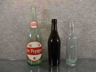 lot of 3 Vintage Dr Pepper  Keen   Brown Glass Bottles    2 pt  10 oz   10 oz