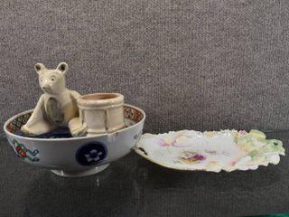 lot of 5 Vintage Bowls  Plates   Planter   Hoeger Planter