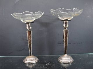 lot of 2 Vintage RWM Sterling Silver with Weighted Cement Steel  18 Dish   Total Weight of Bases  Glass Removed    15 oz   9 1 2  Tall