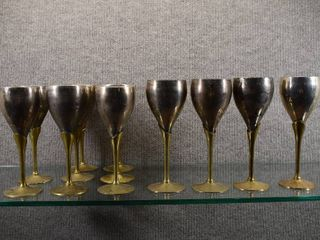 lot of 12 Vintage Brass   Silver Wine Goblets   Two Different Sizes   7 1 2    8