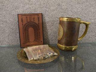 lot of Vintage Copper Home Decor Pieces   Mug  Morocco Plate  St Dominic Plaque  Appetizer Forks Knives   Mug 5 1 2  Plate   Plaque 6