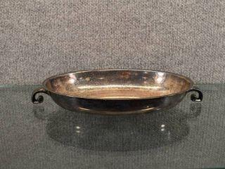 Vintage Silver Plated Serving Dish w Handle Monogram on Bottom  B    11