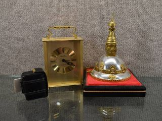 lot of 3 Vintage Home Decor Items   Seth Thomas  Travel Nightstand Clocks   Desktop Decorated Bell   Case w Travel clock   2    5  Tall