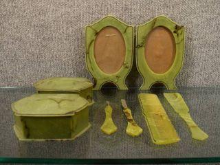 lot of 10 Vintage Green Celluloid Plastic Dresser Set   1950 s   Picture Frames  Puff Box  Cob  Shoe Horn  Manicure Tools