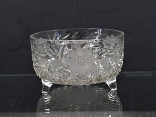 Vintage Crystal Etched Daisy and Button Footed Bowl   8  Tall