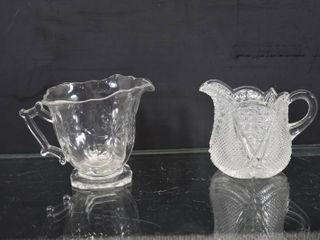 Vintage Diamond Cut Clear Creamer and Mustard Jar   4  Tall