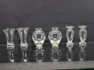 lot of 6 Vintage Clear Bud Vases   3 1 2  Tall
