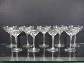 Set of 9 Vintage Crystal Wine Glasses   Monogram  GSE    5 1 2  Tall