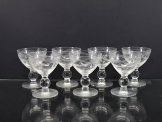 lot of 7 Vintage Etched Clear Glass Sherbet Cups   3 1 2