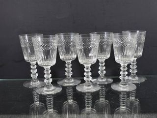 lot of 7 Vintage Etched Glass Cordial Glasses   5