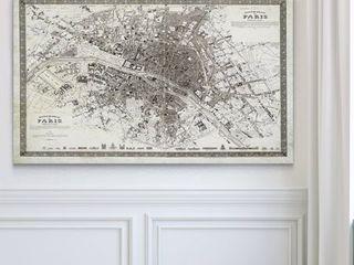 Vintage Paris Map Outline   Premium Gallery Wrapped Canvas