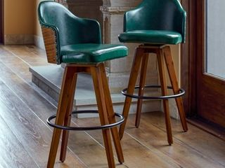 Corvus Metz Mid century Bonded leather Swivel Bar Stool  SEAT AND BACK ONlY  missing legs  Has hardware