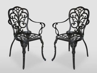 Viga Outdoor Cast Aluminum Dining Chair   Set of 2   by Christopher Knight Home  Retail 196 49
