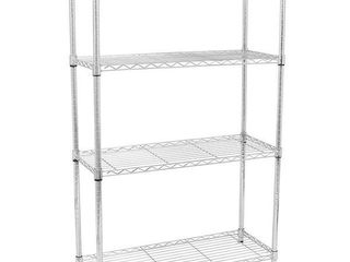 Chrome Plated Metal 4 Shelf Pantry Shelving