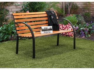 Furniture of America Sury Cottage Oak Wood Outdoor Bench