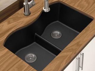 Winpro Mocha Granite Quartz Double Equal Bowl Undermount Sink