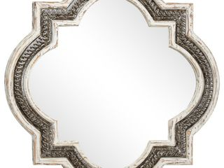 Vintage Style Distressed Wood Iron Wall Mirror in Quatrefoil Frame