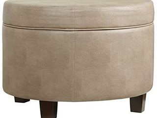 HomePop Round Faux leather Storage Ottoman   Taupe Retail 115 49