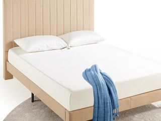 Priage by ZINUS Beige Channel Stitched Upholstered Headboard and Slats ONlY   King