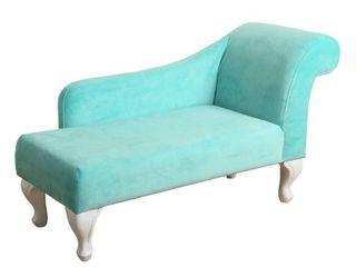 HomePop Juvenile Chaise lounge in Aqua Turquoise Velvet Retail 146 99