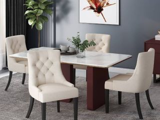 Hayden Contemporary Tufted Fabric Dining Chair by Christopher Knight Home   Set of 4