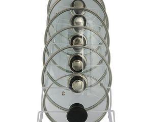 Porch   Den Montreux White 6 slot No Scratch Pot lid Cabinet Storage Rack