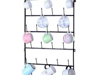 Wall Mounted Home Storage Mug Hooks with 6 Tier Display Organizer
