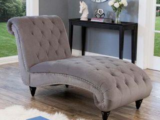 Abbyson Felice Grey Tufted Velvet Chaise