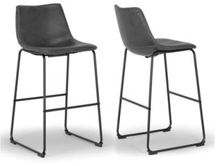 Carbon loft Richard Faux leather   Iron Counter Stool   Set of 2