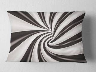 Designart  Fractal 3D Black N White Tunnel  Contemporary Throw Pillow