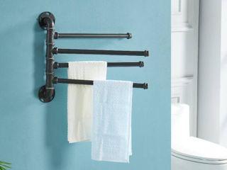 Furniture of America Brevin Industrial Sand Black Wall Mounted Towel Rack Retail 98 49
