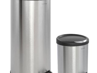Happimess Oscar 2 Piece Step On Trash Can Set   Stainless Steel and Black