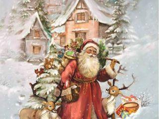 Alexander Taron Korsch Advent   Santa with Reindeer   11 75 H x 8 25 W x  1 D