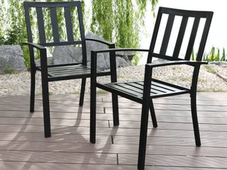 Mf Studio Metal Patio Outdoor Dining Chairs Set Of 2 Stackable Bistro Deck Chairs