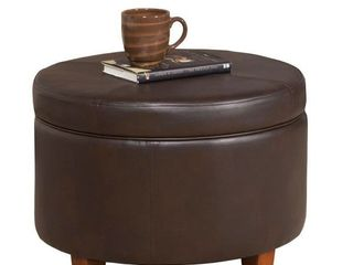 Porch   Den Rockwell Chocolate Brown Faux leather Foam Wood large Round Storage Ottoman Retail 87 99