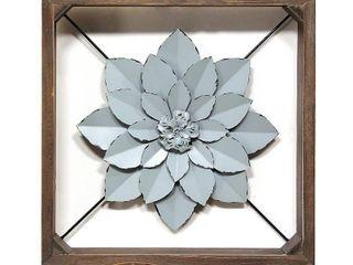 Stratton Home Decor Blue Framed Metal Flower