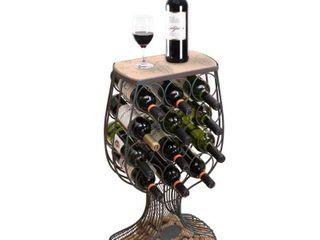 Vintage Wooden Metal Goblet Shaped Wine Rack w  Cork Holder