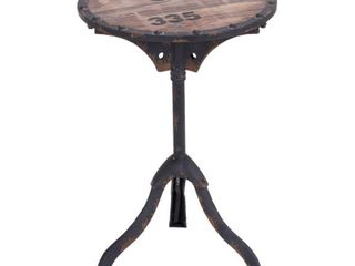 Metal and Wood Round Accent Table Brown   Olivia   May