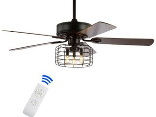 Asher 52  3 light Industrial Metal Wood lED Ceiling Fan With Remote  Forged Black by JONATHAN Y