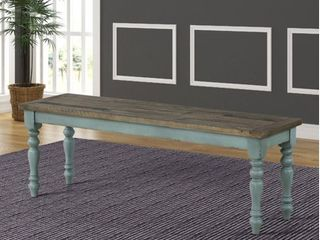 Prato Two Tone Wood Upholstered Short Dining Bench