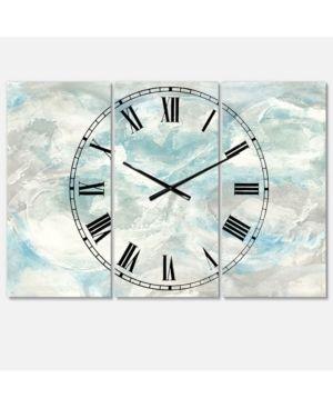 Designart  Pale Blue Shade III  Cottage 3 Panels large Wall Clock