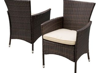 Malta Outdoor Wicker Dining Chairs by Christopher Knight Home  Set of 2  Retail 209 99