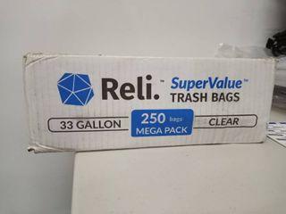 Reli  Supervalue 33 Gallon Trash Bags  250 Count Bulk  Clear 30 Gallon   33 Gal