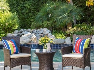 3 piece Outdoor Wicker Chat Set with Cushions by Christopher Knight Home Retail 302 99