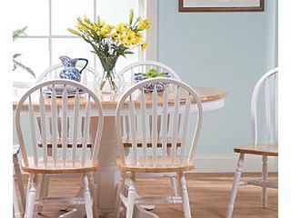 Simple living Farmhouse White  Natural Dining Chairs